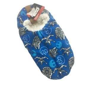Star Wars Slipper Socks Fleece Lined Blue 7.5-9.5
